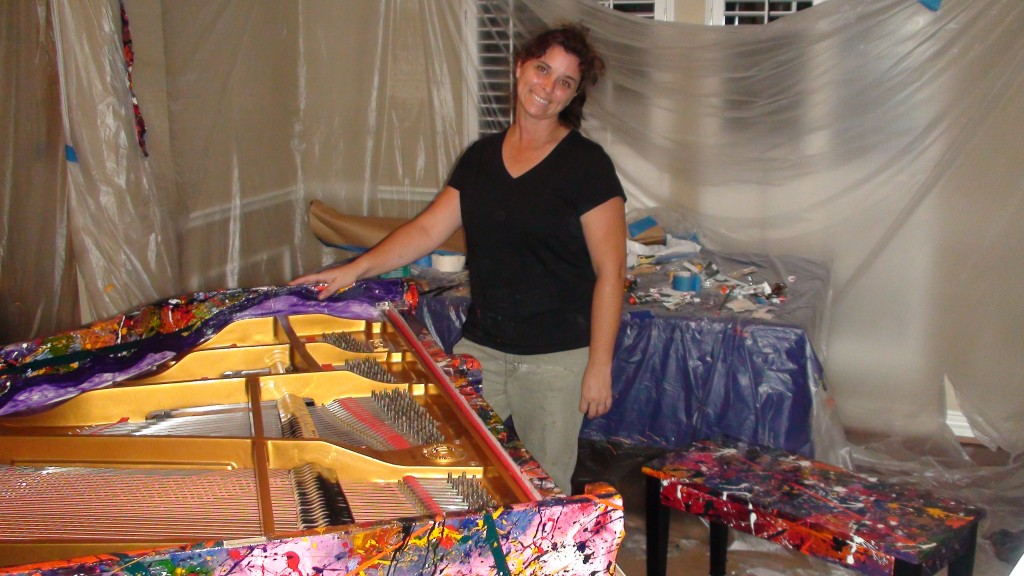 Melissa Ayr - Painting a Baby Grand Piano Half Way Done
