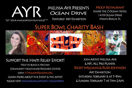 Melissa Ayr Super Bowl Charity Bash Miami Flyer