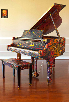 "Melissa Ayr Art Painted Piano ""Live Energy"" Young Chang"